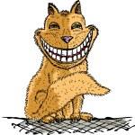 Orange Cheshire cat smilling — Stock Vector