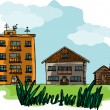 Three types of houses - municipal, private, and rural — Stock Vector