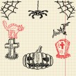 Halloween sketch set — Stock Vector