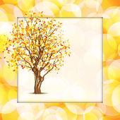 Autumn tree in yellow frame — Stock Vector