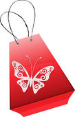 Funny shopping bag with butterfly — Stock Vector