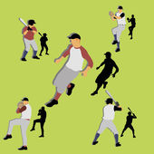 Silhuetas de jogadores de beisebol — Vetorial Stock