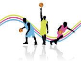 Drie basketbalspelers — Stockvector