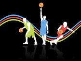 üç basketbol oyuncuları — Stok Vektör