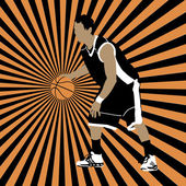 Basketball player on striped background — Vetorial Stock