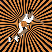 Basketball player on striped background — Stockvector