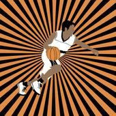 Basketball player on striped background — Stok Vektör