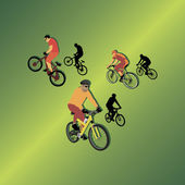 Three bicyclists on gradiented background — Stok Vektör