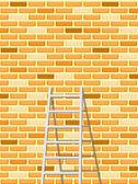 La escalera y la pared de ladrillo sin costuras — Vector de stock