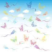 Varicolored transparent butterflies set — Stock Vector