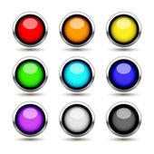 Colorful metal buttons set — Vector de stock