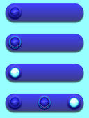 Long button, off, selected and pushed — Stock Vector