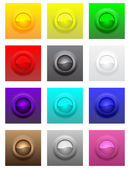 Colorful convex glossy buttons set — Stock Vector