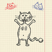 Sketch funny cat — Stock Vector