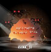 Carta di invito Halloween, grotta con ragni e pipistrelli — Wektor stockowy