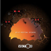 Halloween invitation card, cave with spiders and bats — Stock Vector