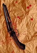 Blood, sheet, shotgun — Stock Vector