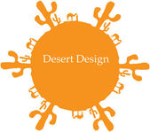 Desert sun, made of cactuses and camels — Stock Vector