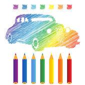 Rainbow manuscript car — Stockvector