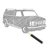 Hand-drown car sketch — Stockvector