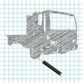 Hand-drown truck sketch — Stock Vector