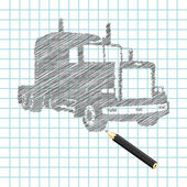 Hand-drown truck sketch — ストックベクタ