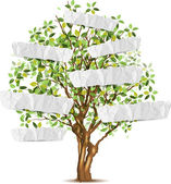 Tree with paper for your text — Stock Vector