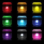 Set of glowing button-bulbs with reflection — Stock Vector