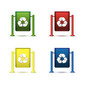Wastebasket icon set — Stock Vector