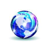 Dark blue globe with shadow — Stock Vector