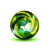 Green globe with shadow — Stock Vector