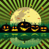 Halloween pumpkins under the moon — Vecteur