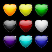 Color set of glass hearts — Stock Vector
