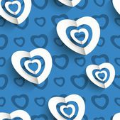 Paper hearts seamless background — Vector de stock