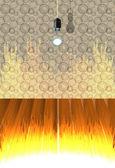 интерьер с абстрактные обои и деревянный пол, сжигание номер — Cтоковый вектор
