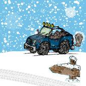 Paseo en coche en la nieve — Vector de stock