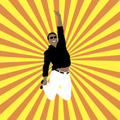 Happy man on sunny background — Stock Vector