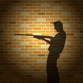 Killer silhouette on brick wall — Vector de stock