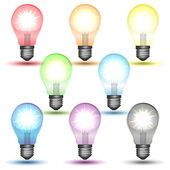 Color set of glowing bulbs with shadows — Stock Vector