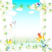Grass, clouds and butterflies — Stock Vector