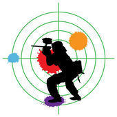 Paintball silhouette and a target — Stockvector