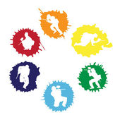 Colored paintball silhouettes into the drops — Stock Vector