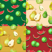 Set of seamless patterns of watermelons and pears — Stock Vector
