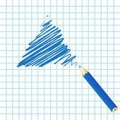 Blue handwritten triangle — Vettoriale Stock
