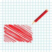 Red handwritten rectangle — Vettoriale Stock