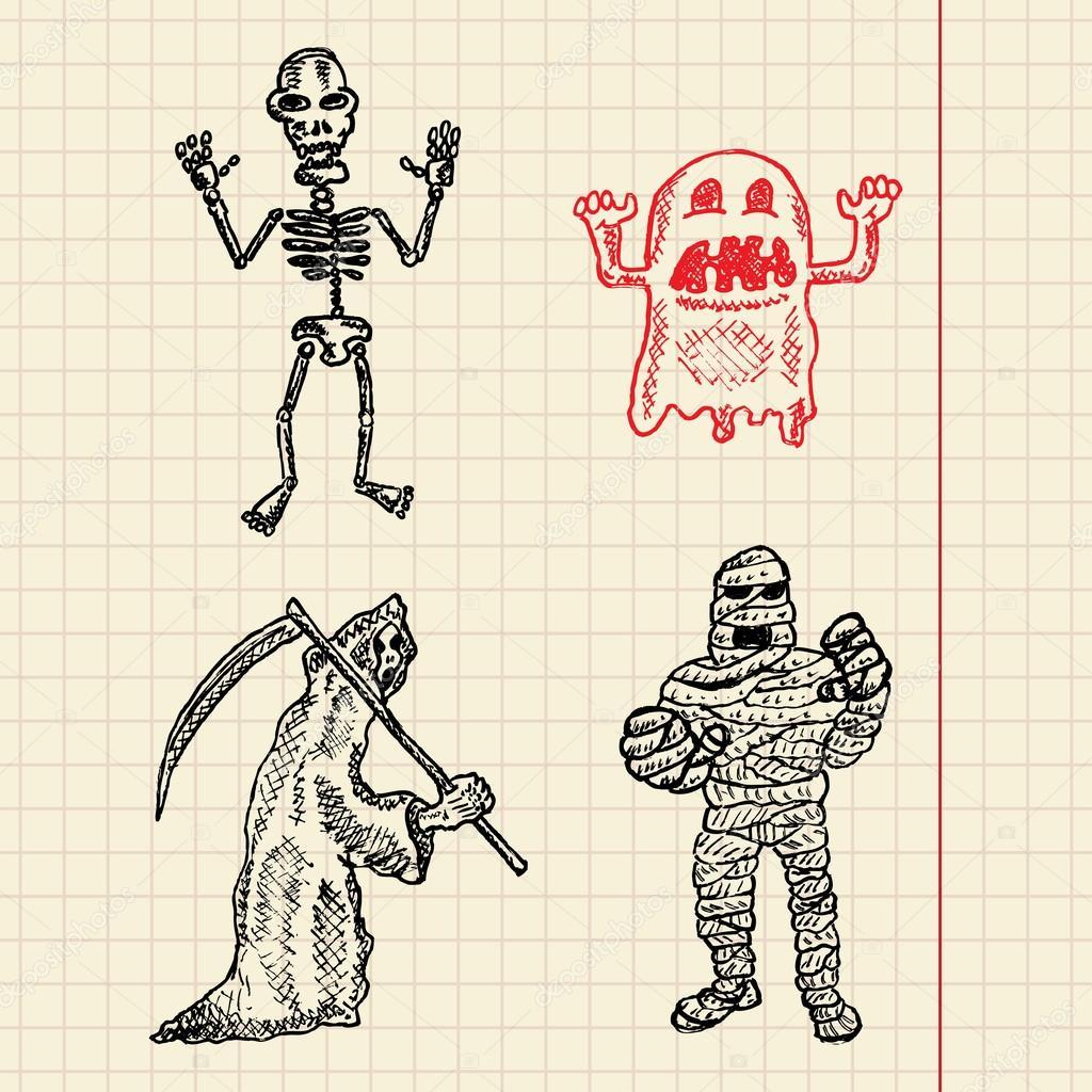 万圣节生物素描为您设计, 矢量图, eps10, 2 层设置 — 矢量图片作者