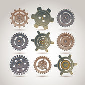 Set of gears of the different form — Stock Vector