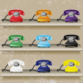 Reihe von bunten retro telefone in regalen — Stockvektor