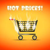 Hot shopping trolley — Stock Vector