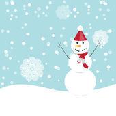 Cena de inverno, boneco de neve feliz — Vetor de Stock